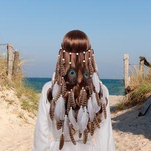 Bohemian Peacock & White Feather Beaded Headdress